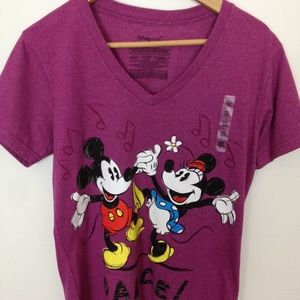 Disney Mickey Minnie Mouse V-Neck Women L T-Shirt